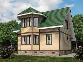 Фото красивых домов с мансардой из бруса