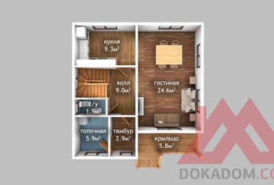 """Проект каркасного дома """"Альпина"""" 8*8,5 м, 116 м.кв."""