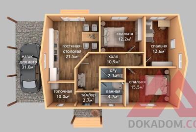 "Проект каркасного дома ""Коралл"", 11,5*8 м, 97 м.кв."