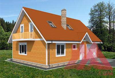 """Проект каркасного дома """"Искорка"""", с гаражом, 11,5*8м, 144 м.кв."""
