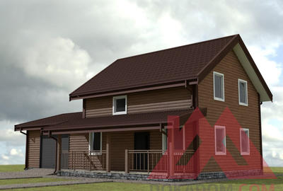 "Каркасный дом каркасного дома с гаражом ""Аллегро-2"" 14*9, 153 кв.м."