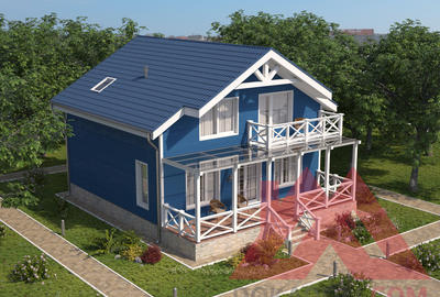 "Проект каркасного дома ""Парус"", 9*9,5, 151 м.кв."