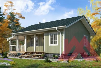 """Проект каркасного дома """"Хитчинс"""" 9*7,5, 50 кв.м."""