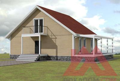 "Проект каркасного дома ""Лофт-2"", 12*10 м, 200 м.кв."