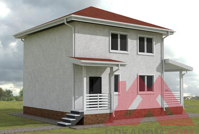 "Проект каркасного дома ""Ланта"", 8*8 м, 129 м.кв."