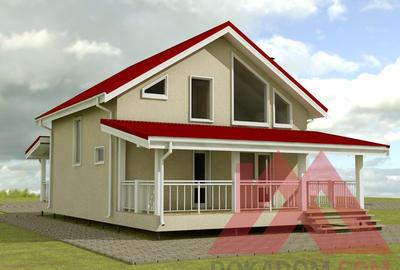 """Проект каркасного дома """"Анастасия"""" 8,5*8,5 м, 121 м.кв."""