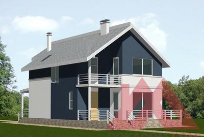 "Проект каркасного дома ""Марина"", 13*8 м, 179 м.кв."
